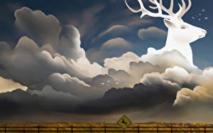 Photo Fantastic world Deer Clouds Fantasy