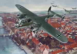 Fotos Flugzeuge Gezeichnet Bomber Dornier Do 17 Luftfahrt