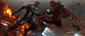 Wallpapers Iron Man hero Battles Heroes comics Captain America: Civil War Steven Rogers tony stark Fantasy