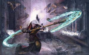 Bilder Diablo III Magie Krieger Streitaxt Mönch Spiele Fantasy