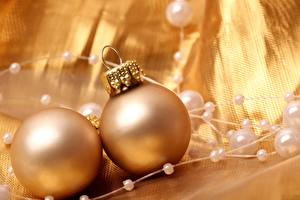 Images Holidays Christmas Balls Gold color Two