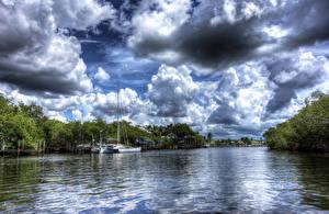 Bilder USA Flusse Bootssteg Wolke HDRI Everglades Florida Natur