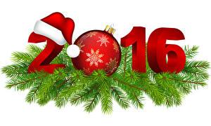 Bilder Feiertage Neujahr Vektorgrafik 2016 Ast Mütze Kugeln