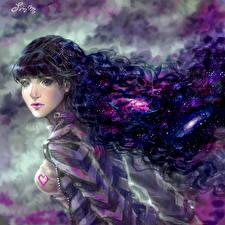 Fotos Gezeichnet Lockige Haar Brünette Mädchens Fantasy