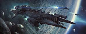Bureaubladachtergronden Schepen Star Citizen videogames Fantasy Ruimte