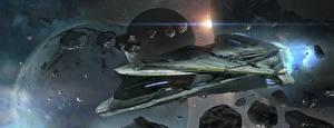 Bureaubladachtergronden Schepen Planetoïde Planeten Star Citizen Computerspellen Fantasy Ruimte