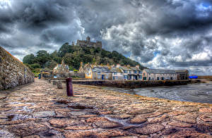 Photo Sea Coast Castles United Kingdom HDR Clouds Waterfront Cities