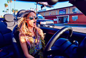 Pictures Salons Blonde girl Convertible Steering wheel Halston Sage Seventeen 2015 Celebrities Girls Cars