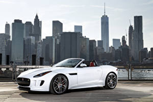 Images Jaguar Houses Skyscrapers Cabriolet White 2015 F-Type R AWD US-spec automobile