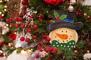 Hintergrundbilder Feiertage Neujahr Ast Kugeln Schneemänner Der Hut