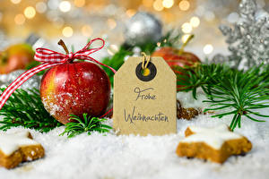 Bilder Feiertage Neujahr Äpfel Backware Kekse Ast Schnee Lebensmittel