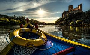 Image Portugal Castles Rivers Boats Coast Castle of Almourol Tagus River Cities