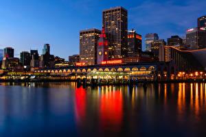 Bilder USA Küste Haus San Francisco Nacht Financial District Städte