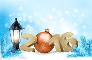 Bilder Feiertage Neujahr 2016 Kugeln Ast Laterne