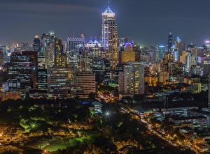 Sfondi desktop Thailandia Edificio Bangkok Megalopoli Notte Lampioni Città