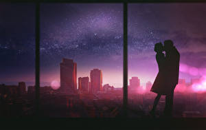 Image Love Houses Two Window Silhouette Fantasy