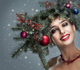 Hintergrundbilder Neujahr Ast Kugeln Gesicht Schminke junge Frauen