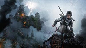 Bakgrundsbilder på skrivbordet Rise of the Tomb Raider Regn Borg Lara Croft Blixtar dataspel Fantasy