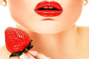 Fonds d'écran Lèvre Fraises Maquillage Red Lips Filles Nourriture