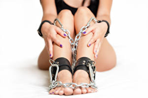 Wallpapers Closeup Legs Hands Chain young woman