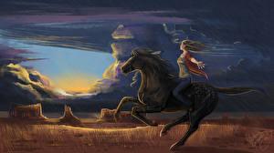Fotos Malerei Pferde Gezeichnet Wolke Freedom Tiere Mädchens