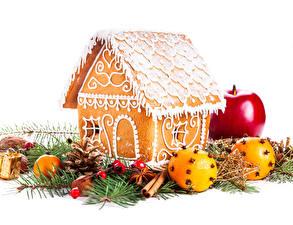 Bilder Neujahr Backware Haus Äpfel Apfelsine Lebkuchenhaus Ast Design Lebensmittel