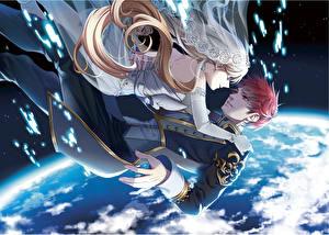 Wallpaper Planets Love Guys 2 karasumaru emu Anime Girls