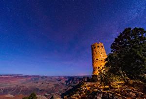 Hintergrundbilder Vereinigte Staaten Parks Ruinen Stern Himmel Grand Canyon Park Canyons Felsen Nacht Natur Kosmos