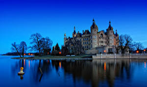 Wallpapers Germany Castles Rivers Coast Night time Schwerin Cities