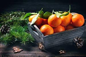 Hintergrundbilder Neujahr Zitrusfrüchte Mandarine Ast Zapfen Lebensmittel