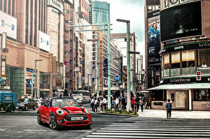 Desktop wallpapers Mini Houses Street Cabriolet Cooper S Cabrio F57 Cars Cities