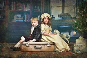 Images Retro Little girls Boys Suitcase Children