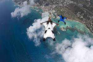 Wallpaper Men Coast Clouds From above formation FS Wingsuit flying Sport