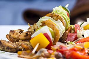 Hintergrundbilder Fleischwaren Schaschlik Gemüse Nahaufnahme Lebensmittel