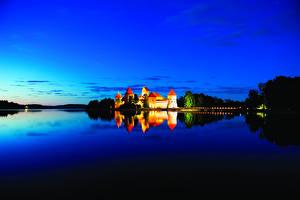 Fotos Litauen Burg See Himmel Nacht Medininkai Castle Städte