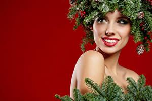 Bilder Neujahr Ast Gesicht Make Up Mädchens