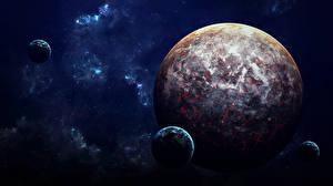 Bureaubladachtergronden Planeet Natuurlijke maan Fantasy Ruimte