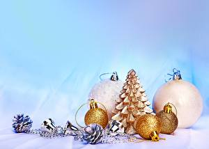 Picture Holidays Christmas Balls Pine cone Gold color
