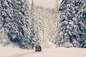 Images Winter Roads Lorry Snow Cars