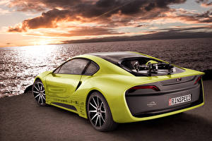 Wallpaper BMW Tuning Coast Yellow green Back view Clouds 2015 Rinspeed Etos concept (BMW i8) Cars