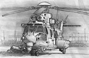 Bilder Gezeichnet Hubschrauber Luftfahrt