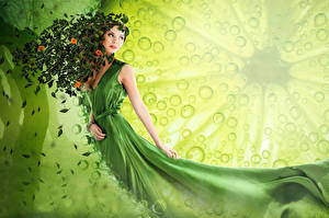 Pictures Green Dress Leaf LIMEORANGE young woman