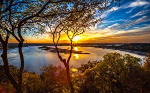 Bilder Vereinigte Staaten Flusse Landschaftsfotografie Sonnenaufgänge und Sonnenuntergänge Himmel Texas Bäume Ast Lake Travis Natur