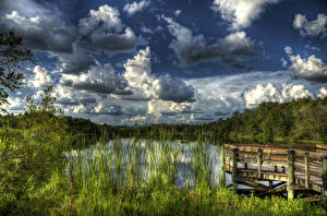 Hintergrundbilder USA Landschaftsfotografie See Seebrücke Himmel HDRI Wolke Gator Lake Florida Natur