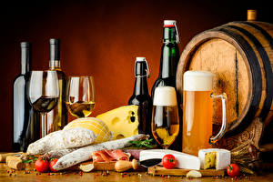 Image Drinks Wine Beer Barrel Cheese Sausage Ham Tomatoes Stemware Mug Bottles Food