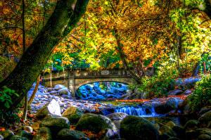 Bilder USA Park Herbst Flusse Brücken Steine Bäume HDRI Ashland Oregon Natur