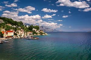 Wallpaper Croatia Sea Mountains Coast Sky Clouds Mimice Village Adriatic Sea Omis Riviera Nature