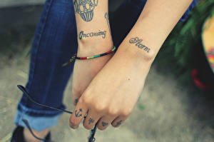 Picture Closeup Hands Tattoos