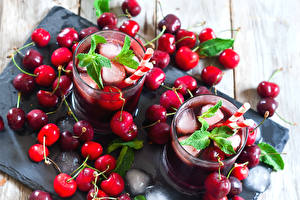Picture Cherry Berry Drinks Highball glass Ice Food