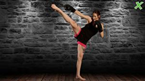Image Boxing Tattoos Legs Singlet Made of stone Wall kick pose martial arts training athletic Girls